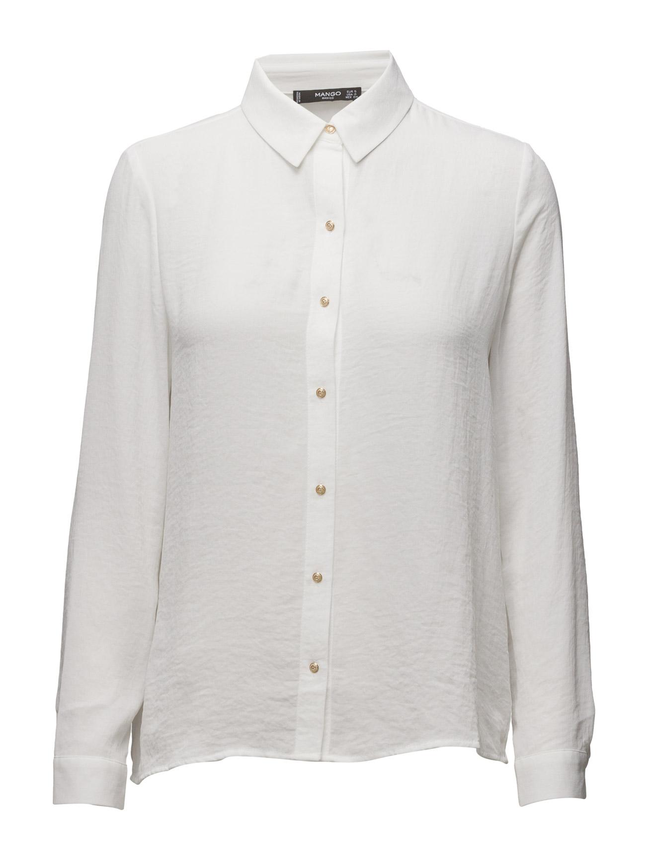 Buttoned Flowy Shirt Mango Langærmede til Kvinder i Natural White