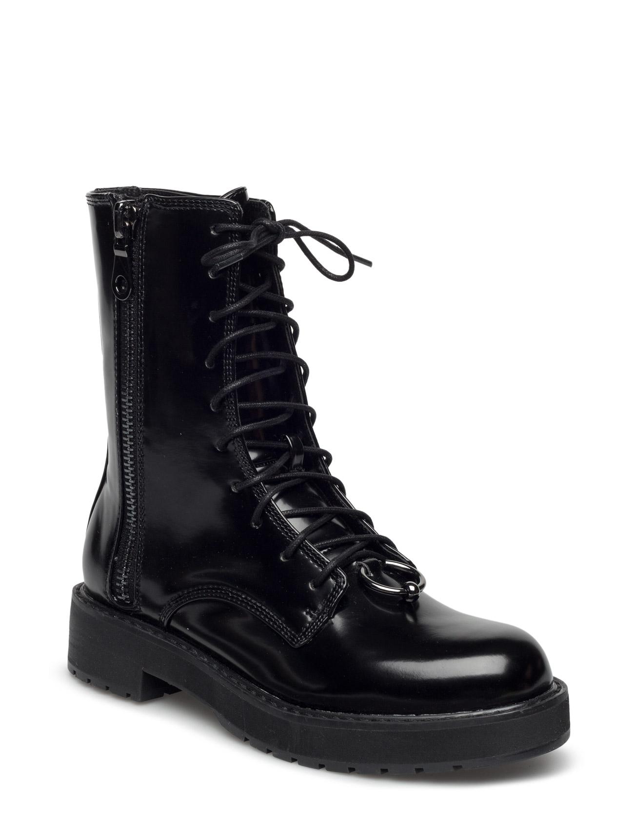 Lace-Up Patent Effect Boots Mango Støvler til Kvinder i Sort