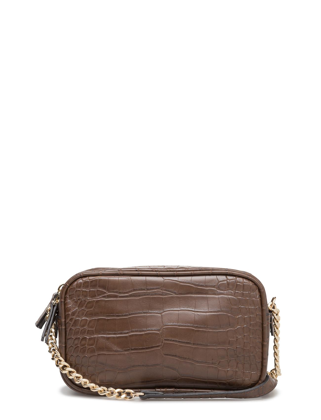 Croc-Effect Cross Body Bag Mango Små tasker til Kvinder i Medium Brown