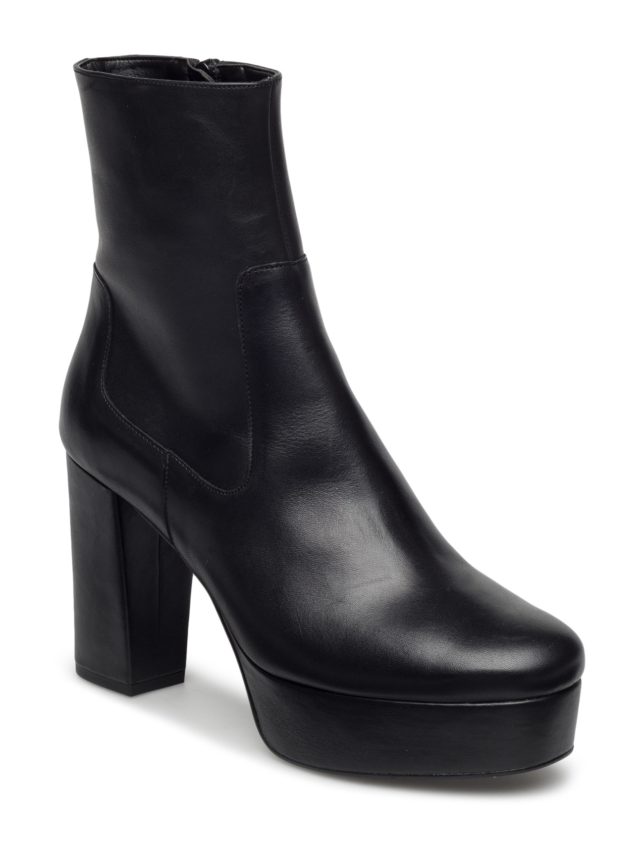 Platform Leather Ankle Boots Mango Støvler til Kvinder i Sort