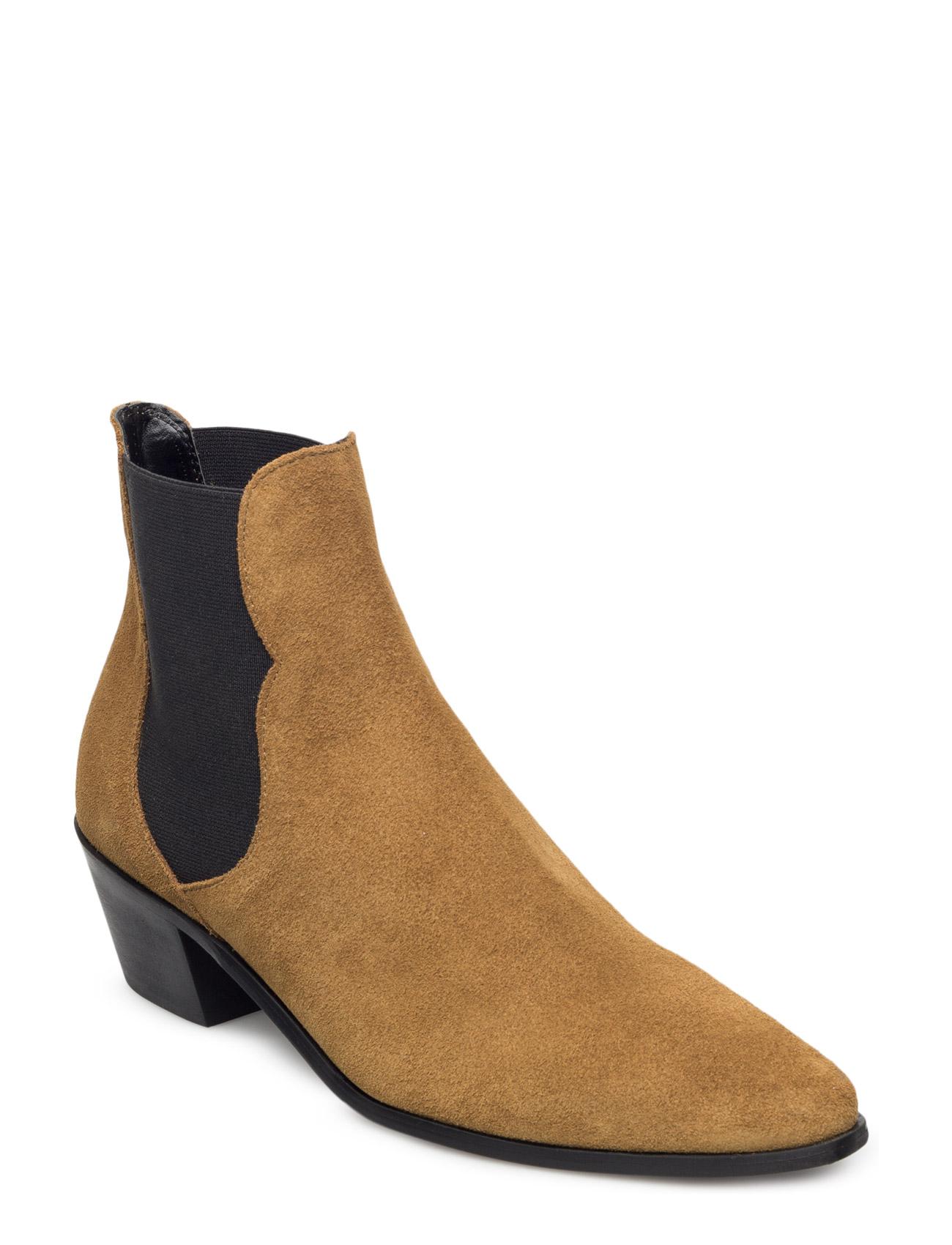 Leather Chelsea Ankle Boots Mango Støvler til Kvinder i Mørkegrøn