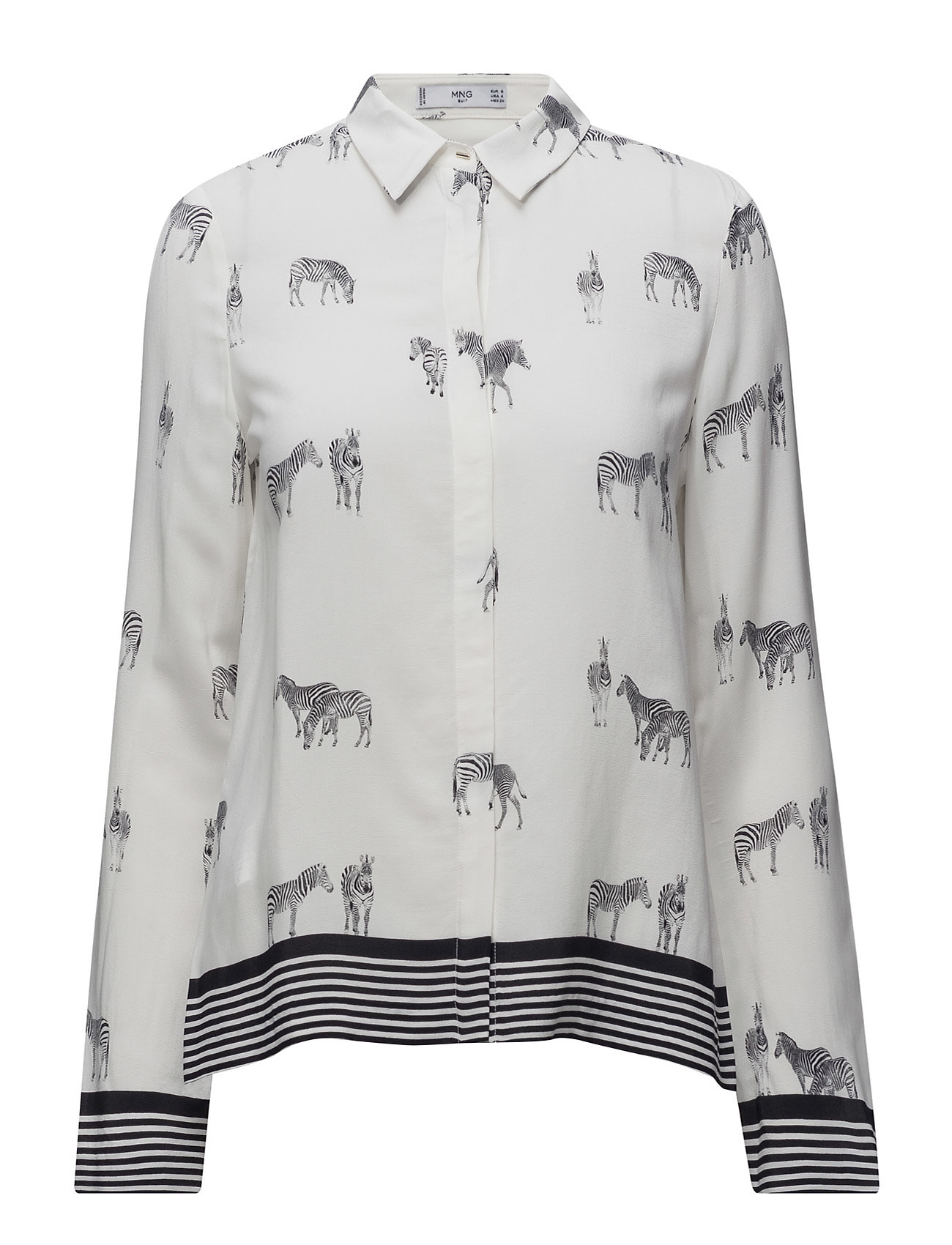 Animal Print Shirt Mango Langærmede til Damer i Sort