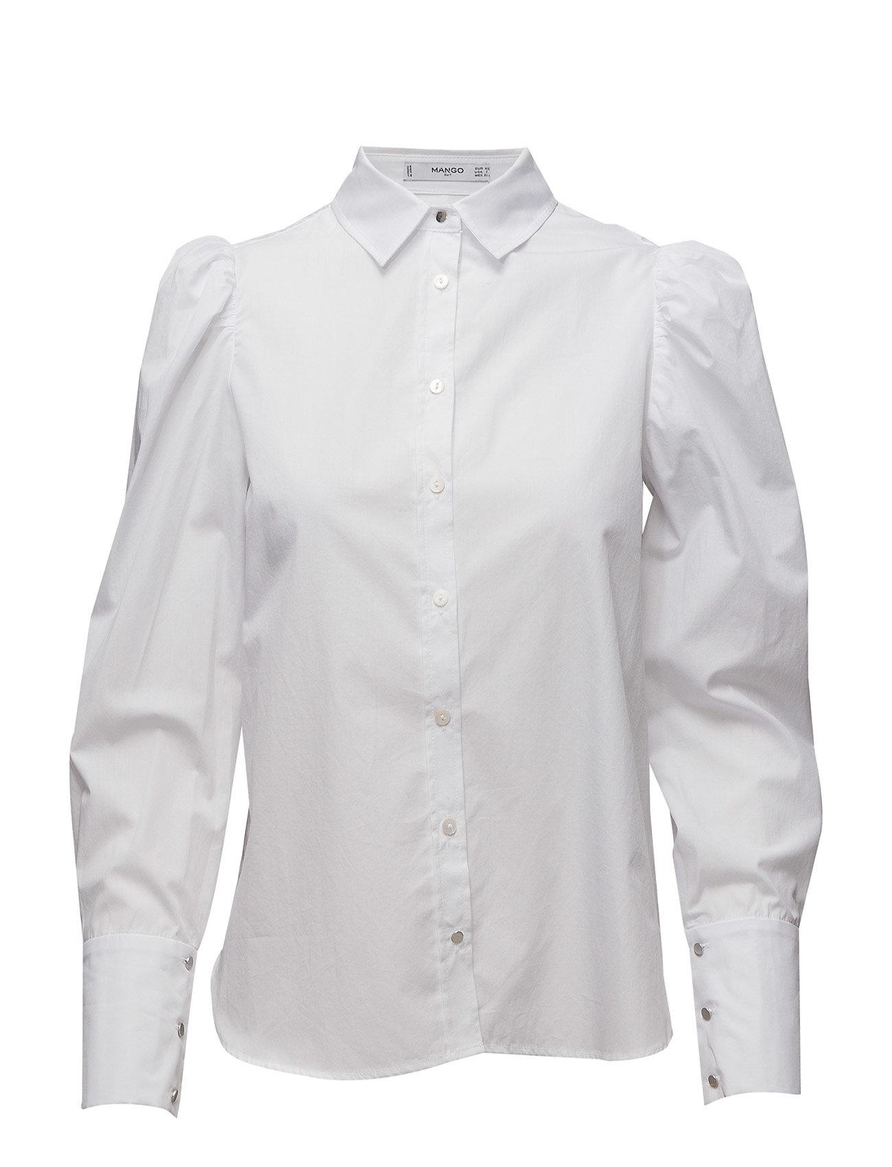 Puffed Sleeves Shirt Mango Langærmede til Damer i hvid