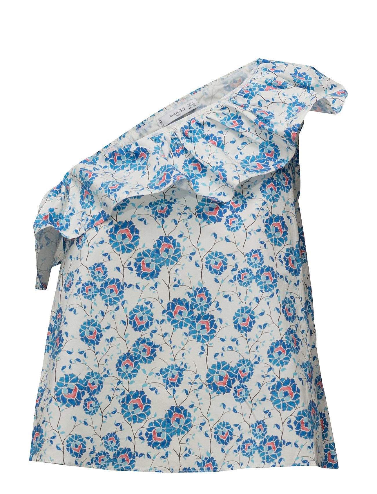 Assymetric Printed Top Mango Bluser til Kvinder i Medium Blå