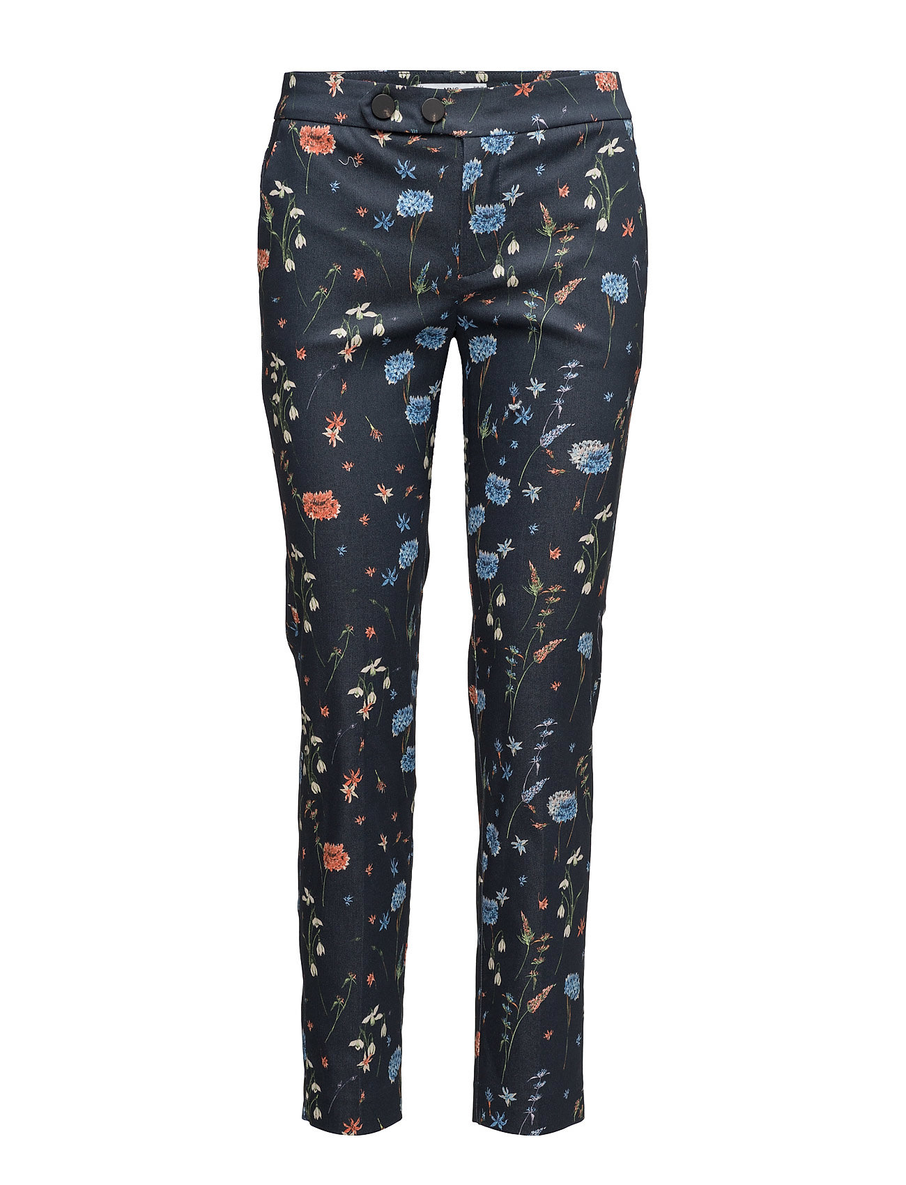 Flower Print Trousers Mango Bukser til Damer i Navy blå