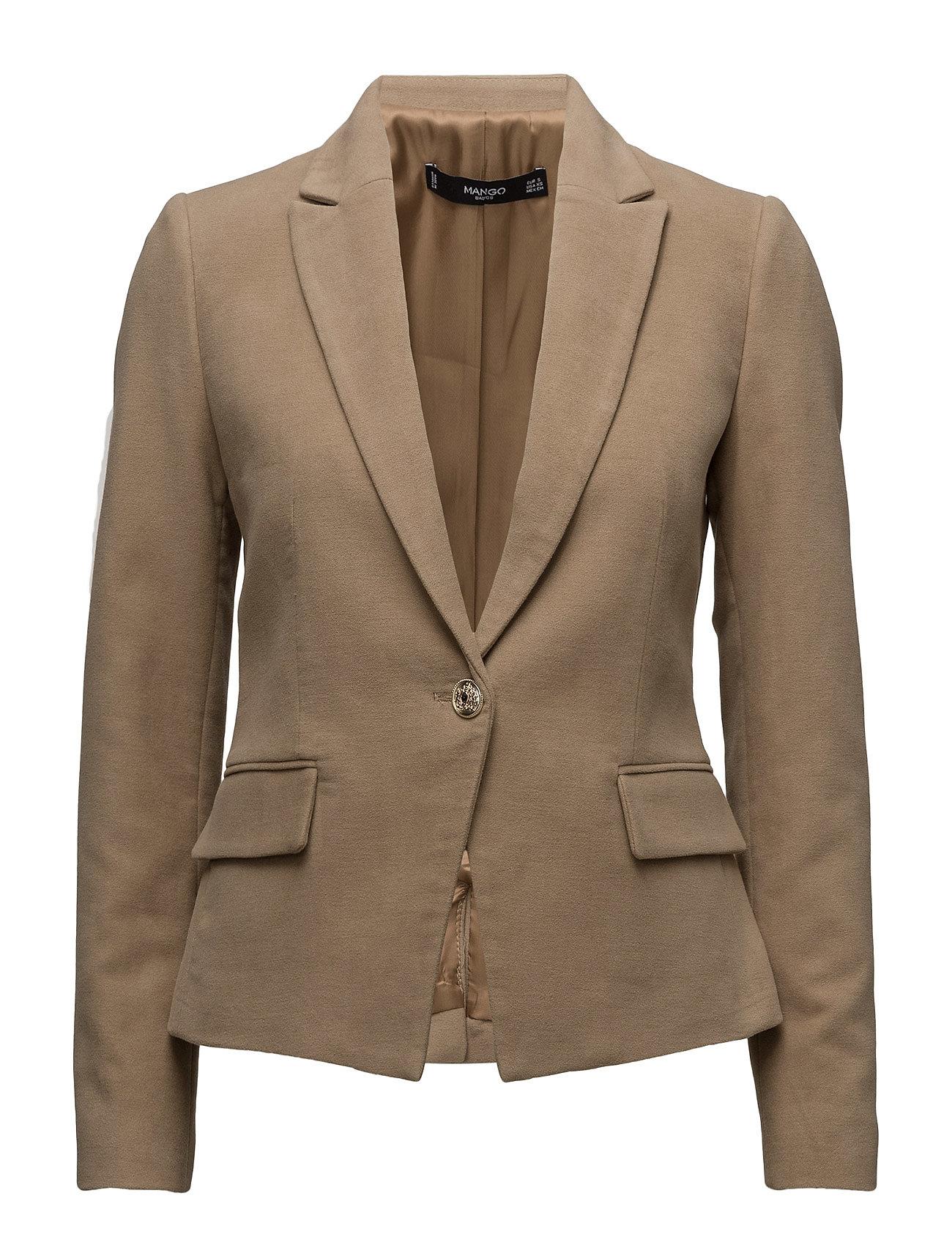 Structured Cotton Blazer Mango Blazere til Kvinder i Medium Brown