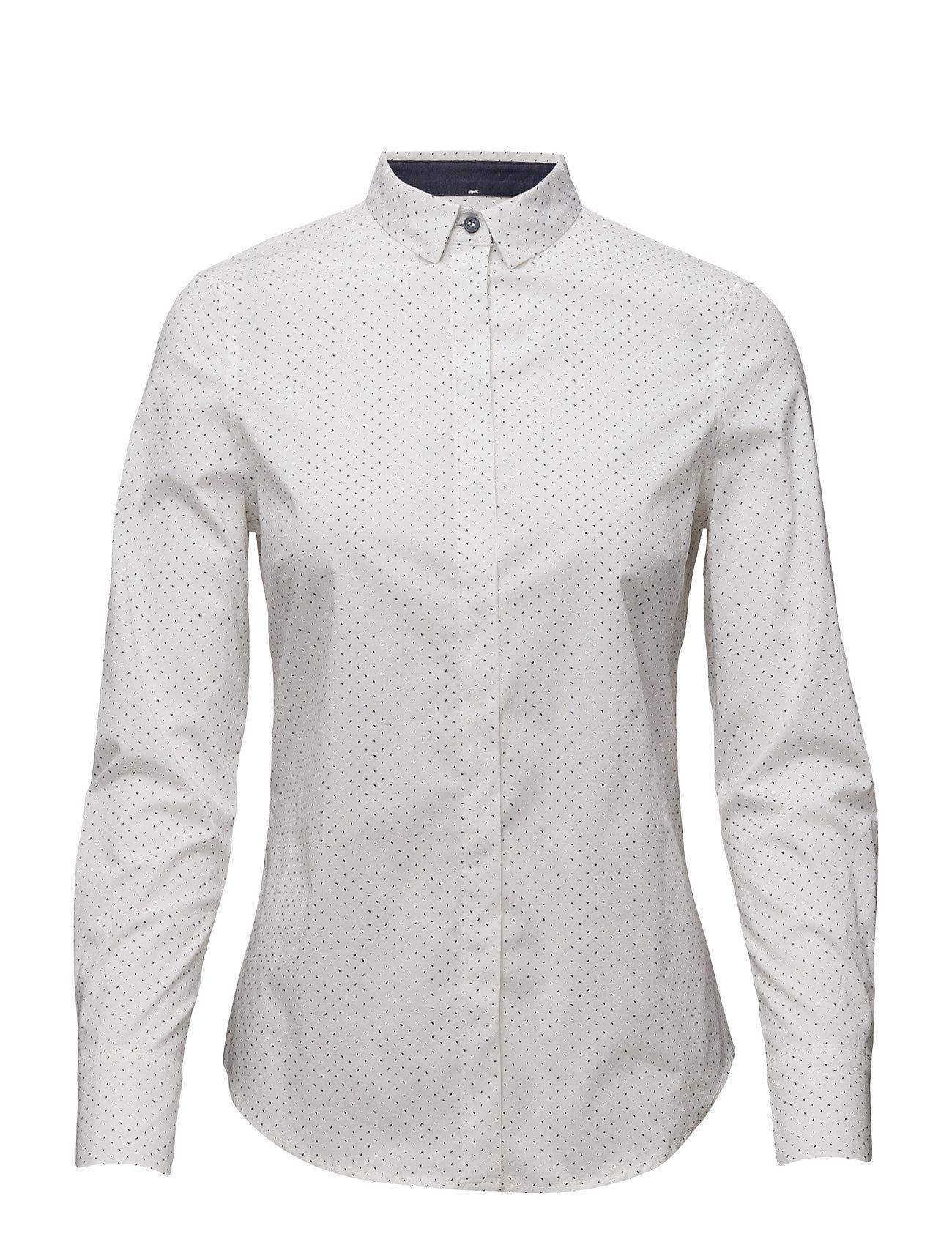 Printed Cotton Shirt Mango Langærmede til Damer i hvid