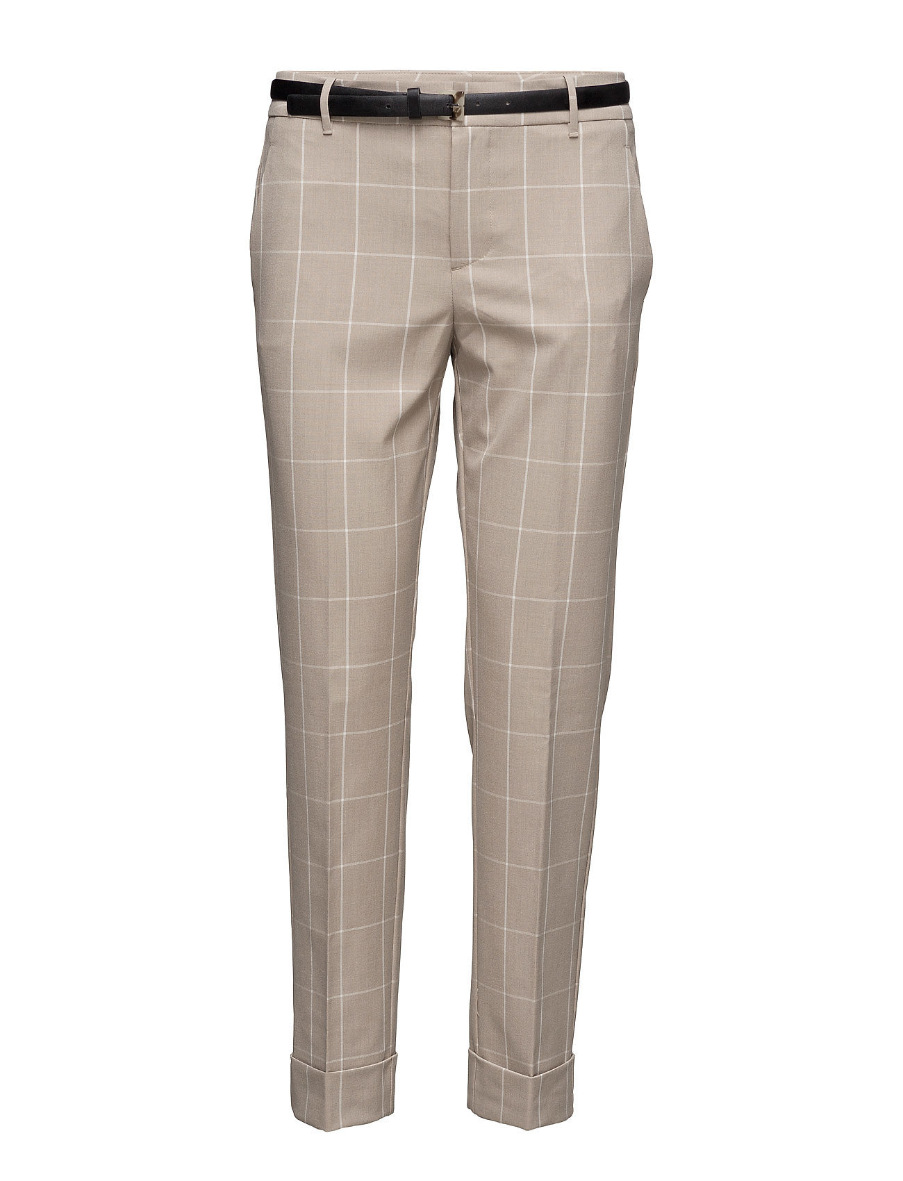 Check Cotton Trousers Mango Bukser til Damer i Light Beige