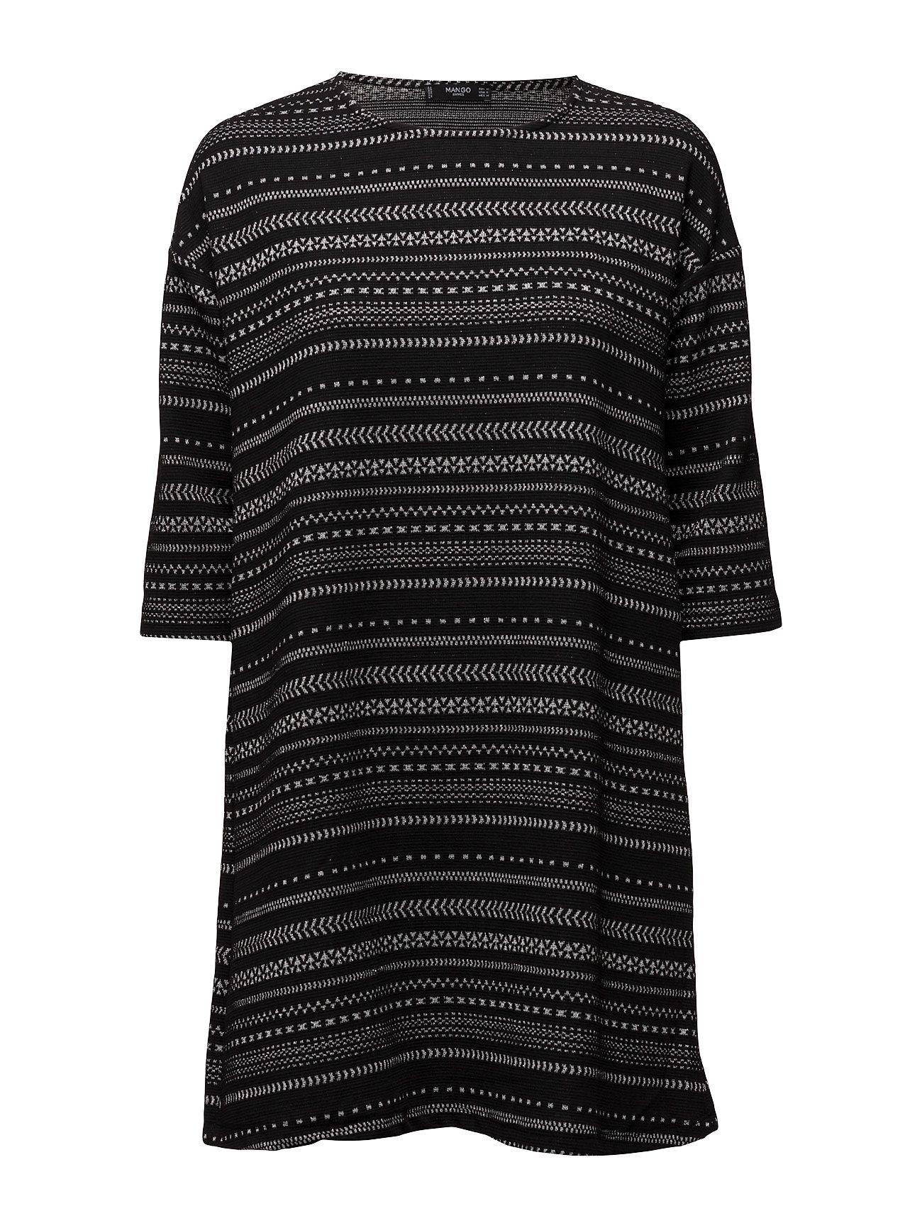 Printed Cotton Dress Mango Knælange & mellemlange til Damer i Sort