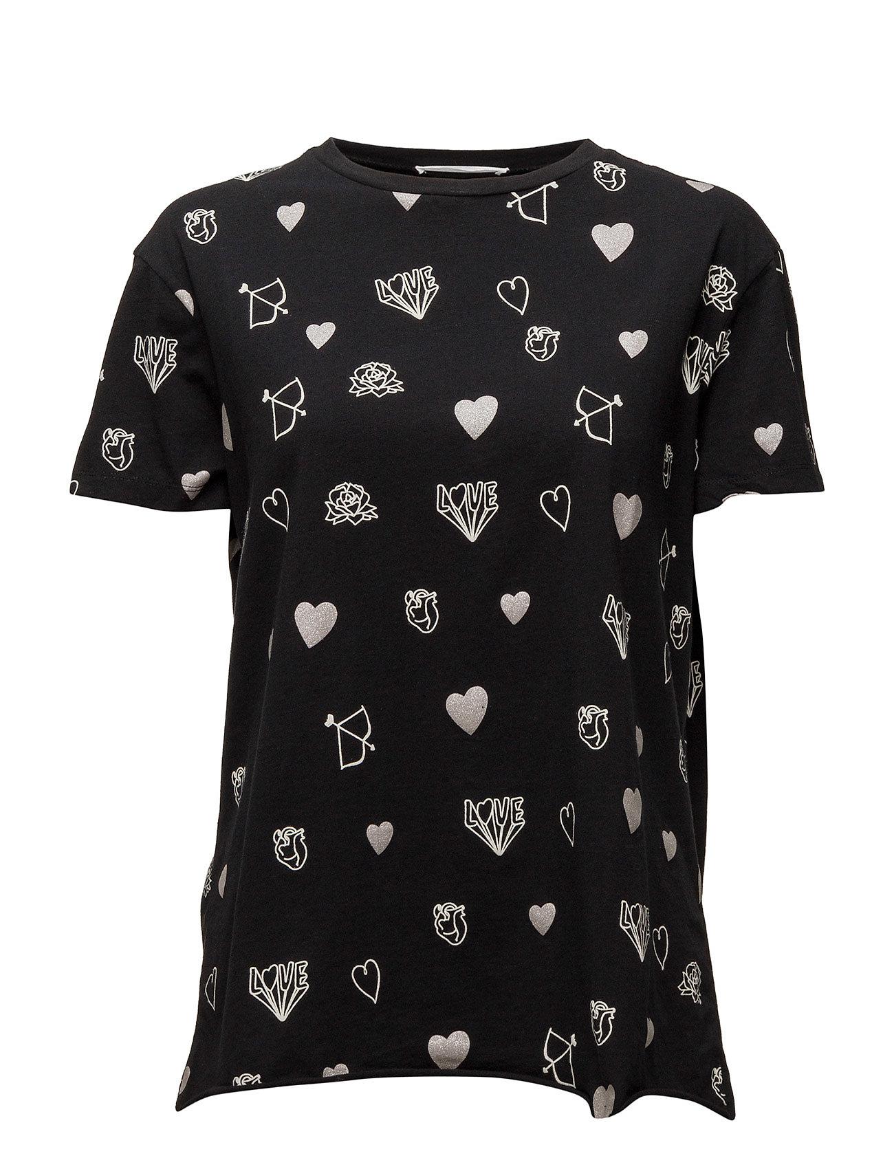 Printed Cotton T-Shirt Mango Kortærmede til Damer i hvid