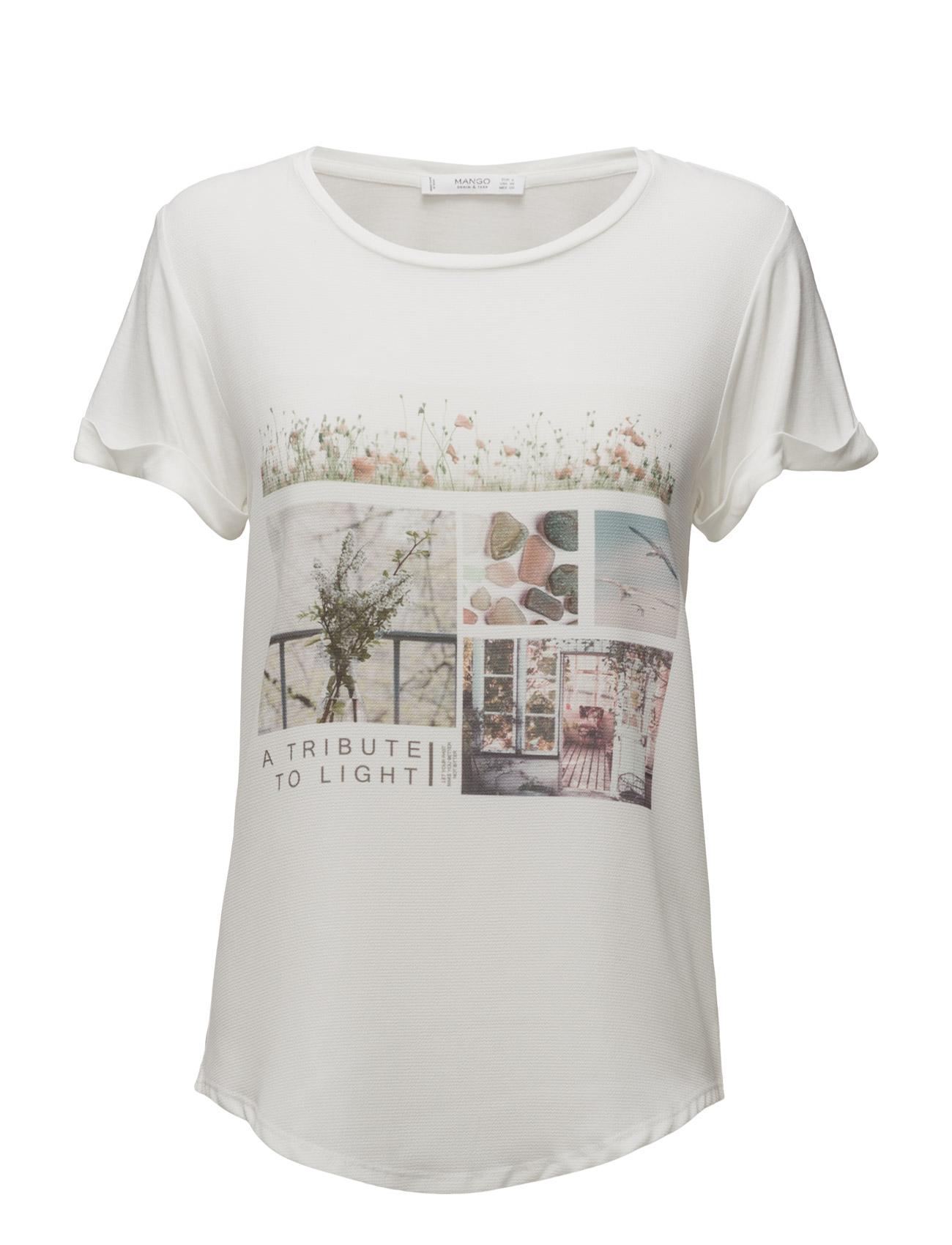 Printed Image T-Shirt Mango Kortærmede til Damer i Natural White