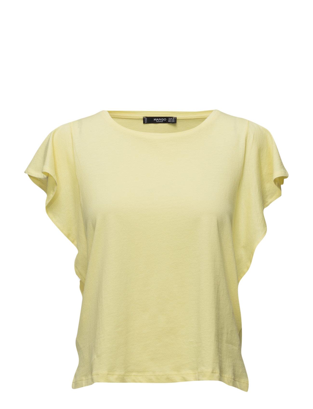 Ruffled Sleeve T-Shirt Mango Kortærmede til Damer i Gul