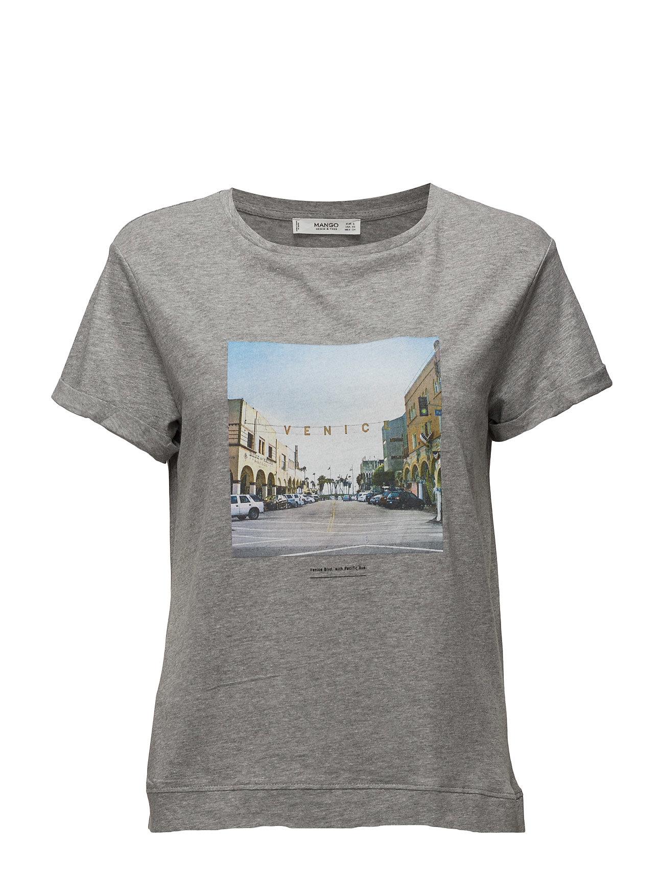 Printed Cotton T-Shirt Mango Kortærmede til Damer i