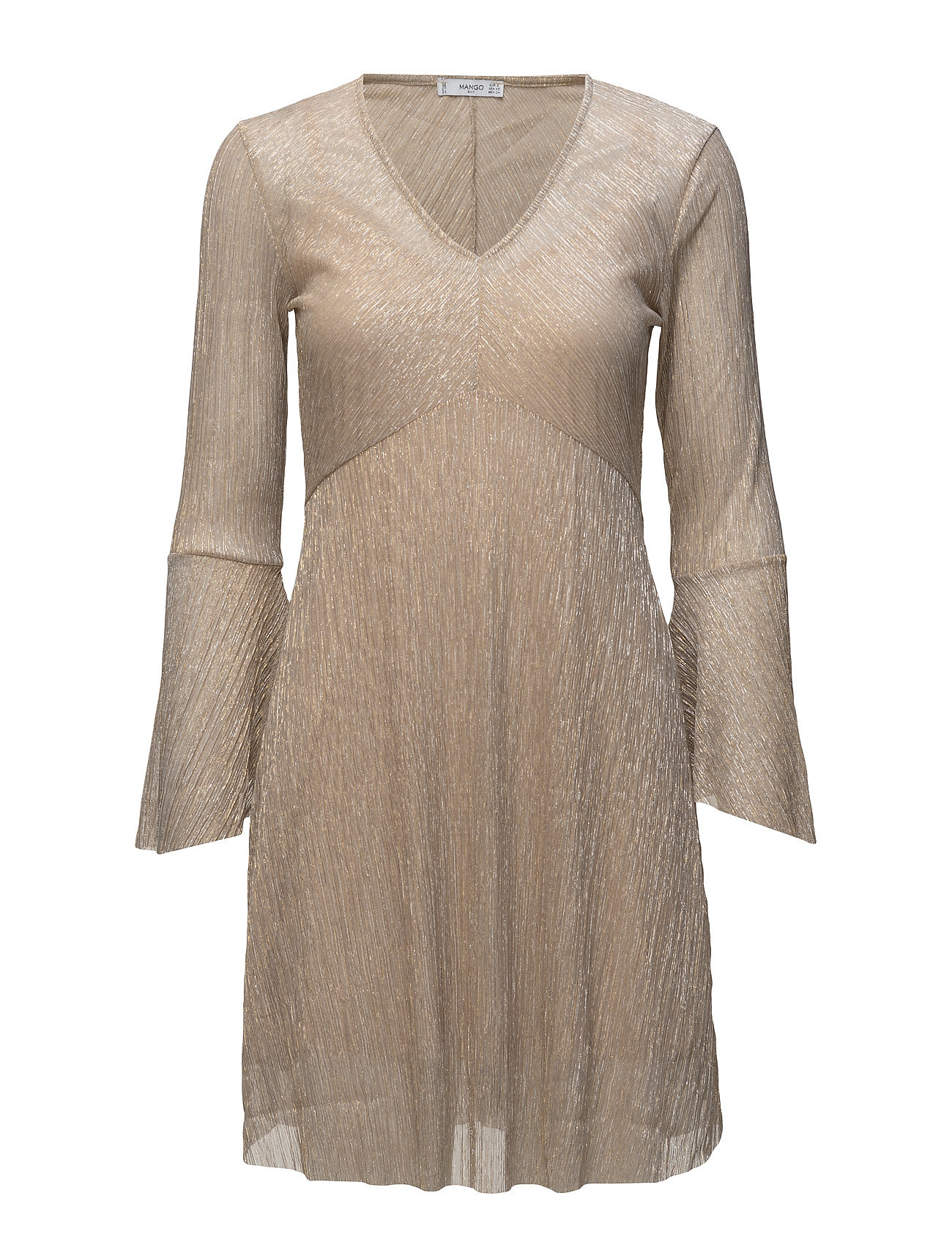 Metallic Pleated Dress Mango Korte kjoler til Damer i Guld