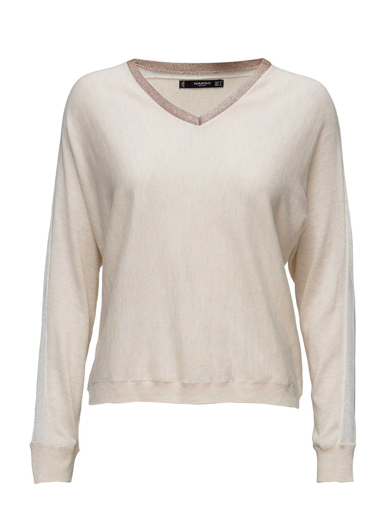 Ribbed Metallic Sweater Mango Striktøj til Kvinder i Light Beige