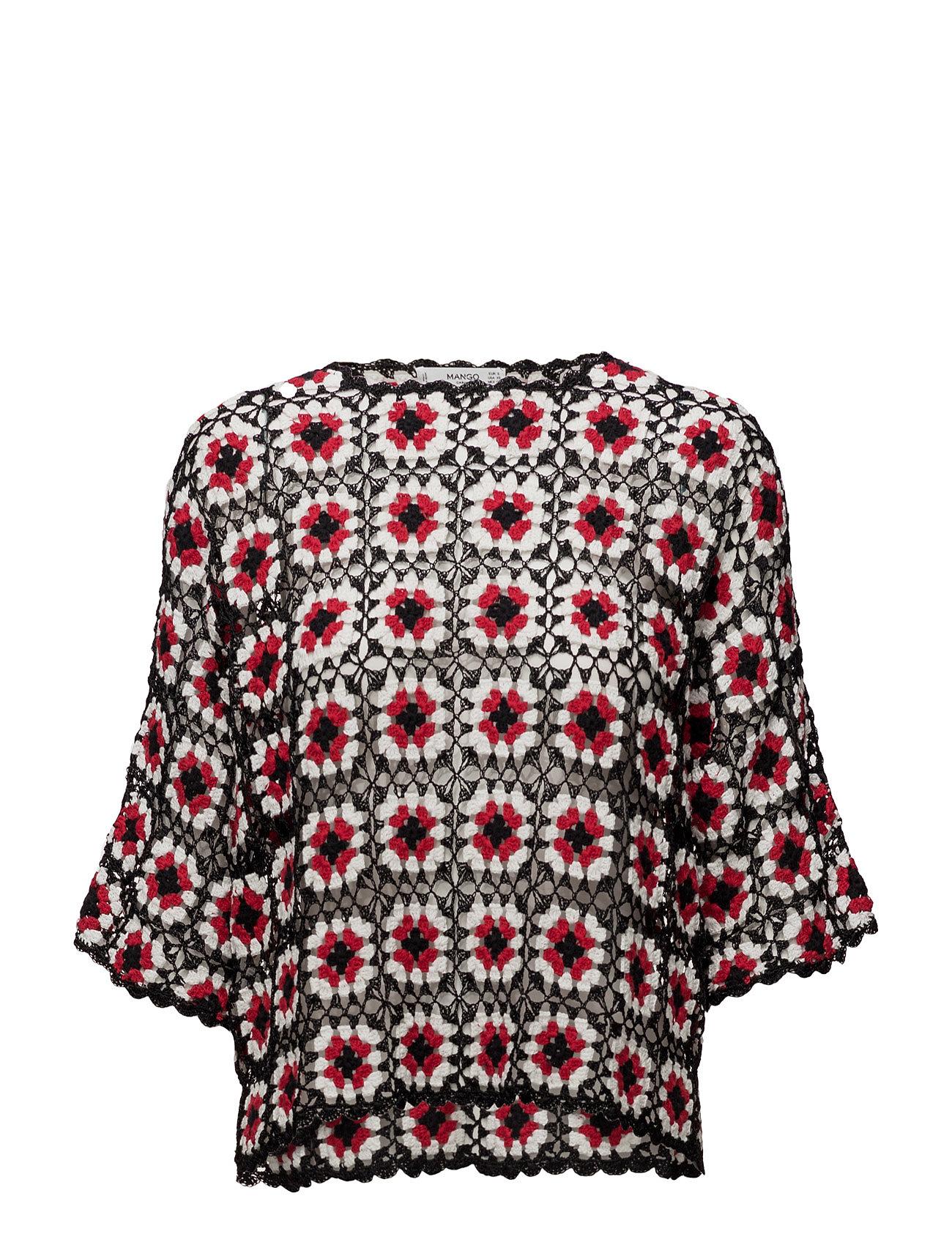 Tricolor Openwork Sweater Mango Sweatshirts til Damer i Sort