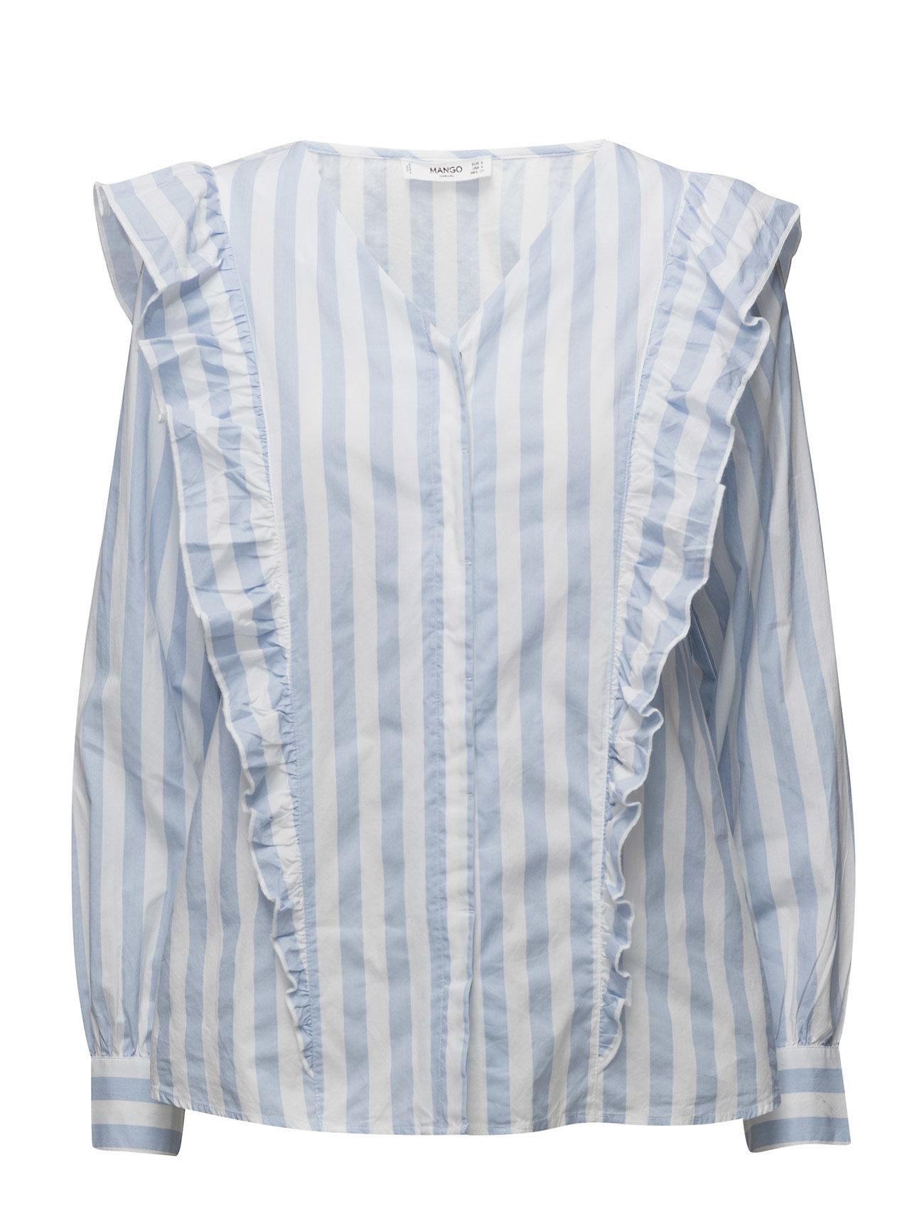 Striped Ruffle Blouse Mango Barne til  - MoteJakten.no