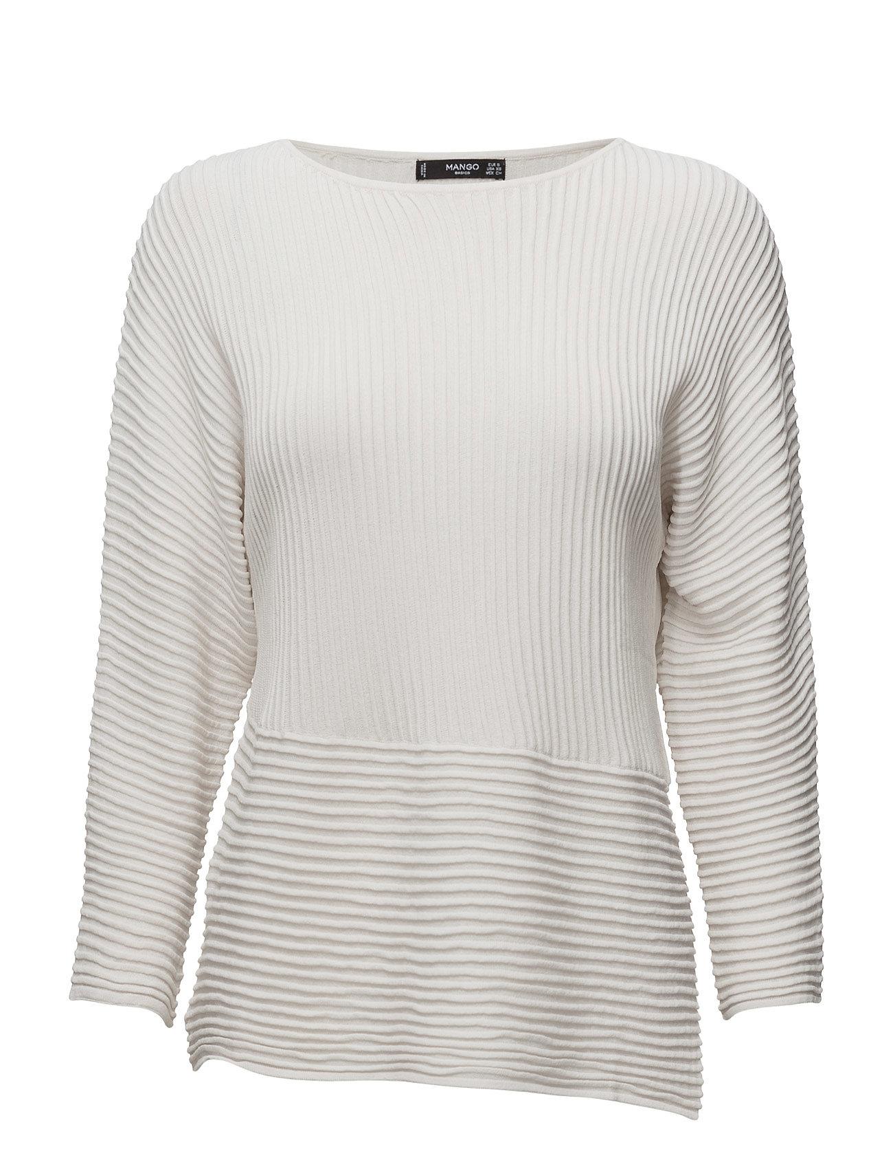 Stripe Textured Sweater Mango Sweatshirts til Damer i Medium Pink