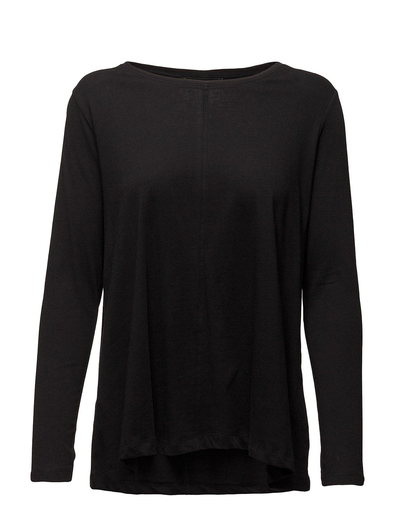 Cotton T-Shirt Mango Langærmede til Kvinder i Sort