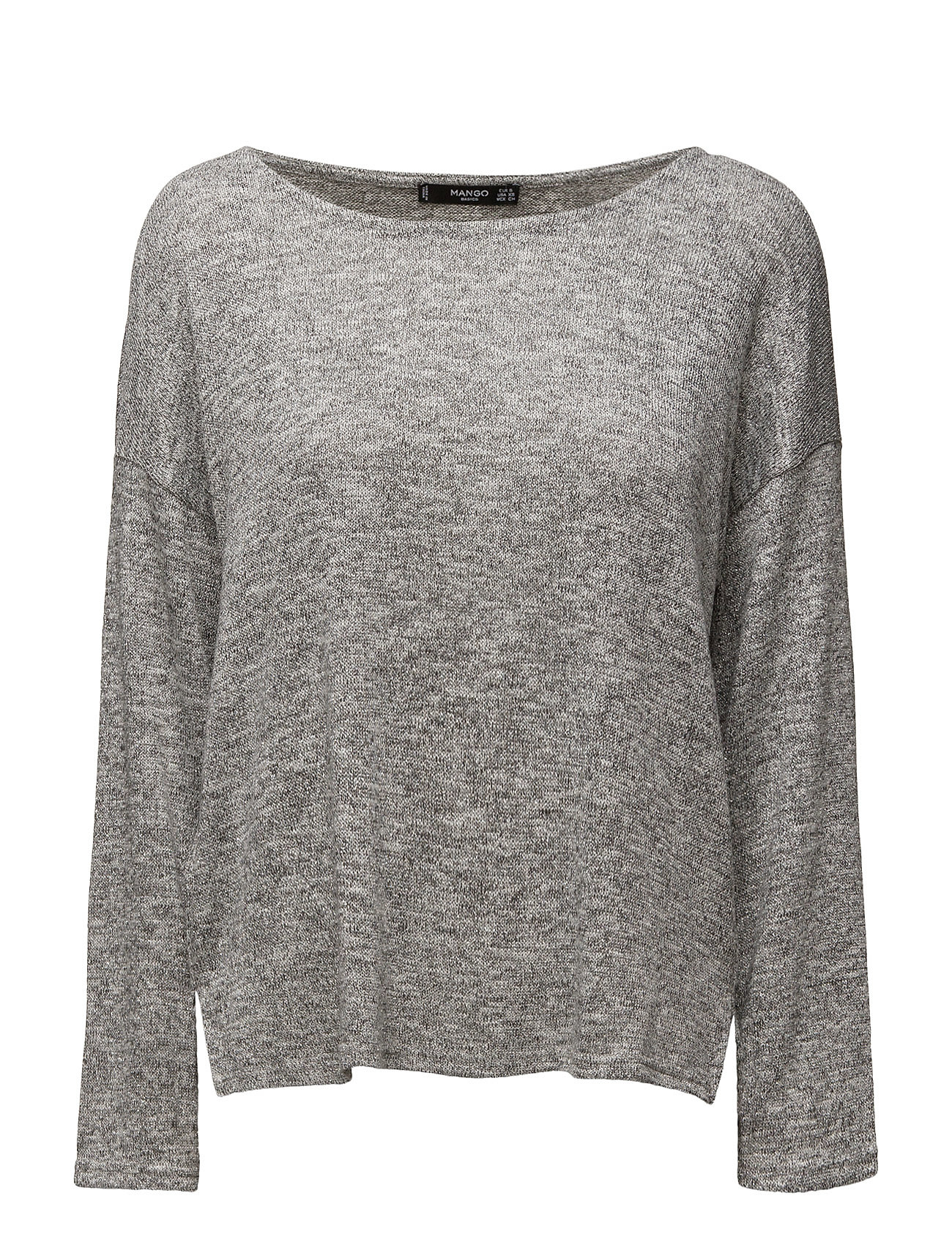 Metallic Thread T-Shirt Mango Striktøj til Kvinder i Lt Pastel Grey