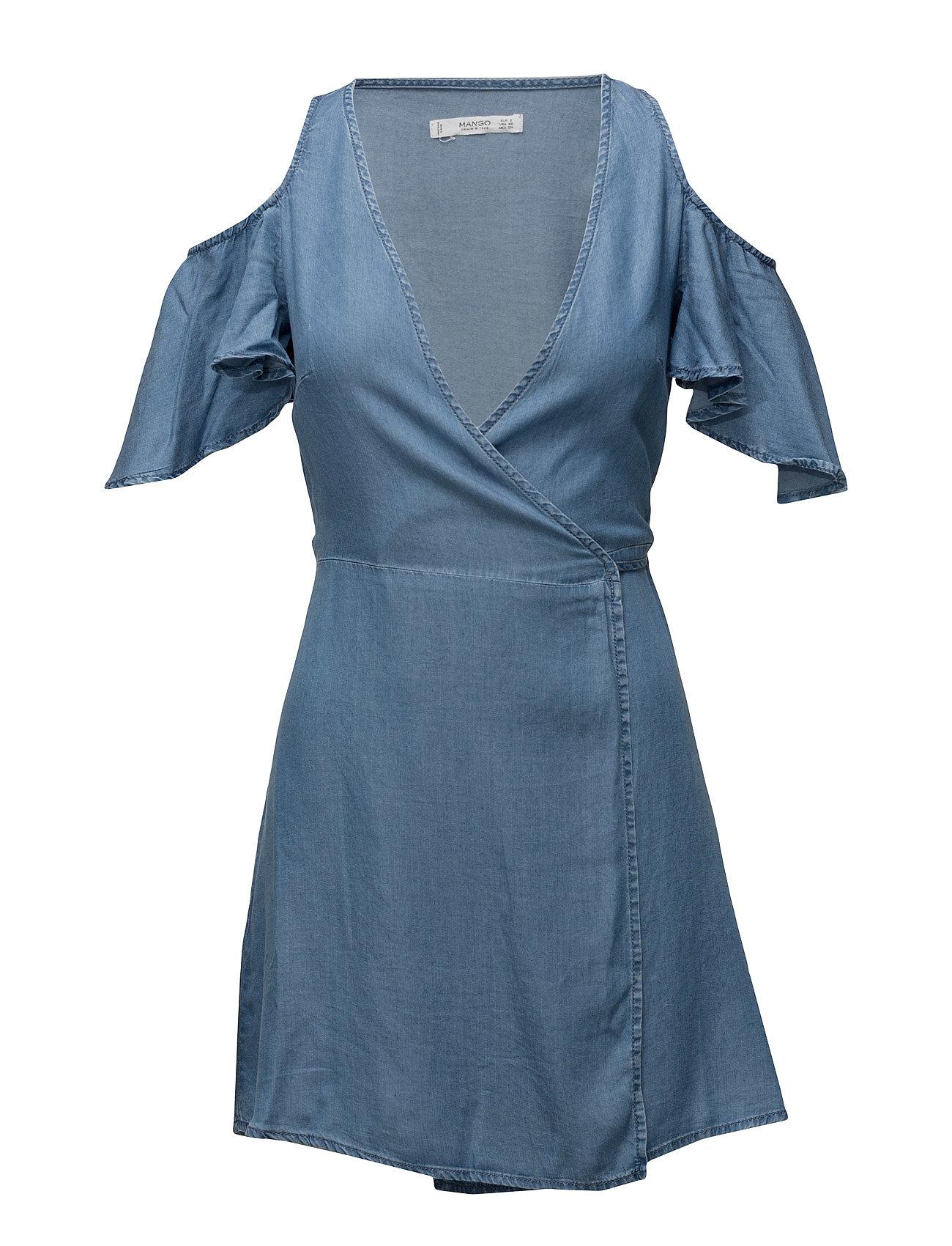 Off-Shoulders Dress Mango Kjoler til Kvinder i Open Blå
