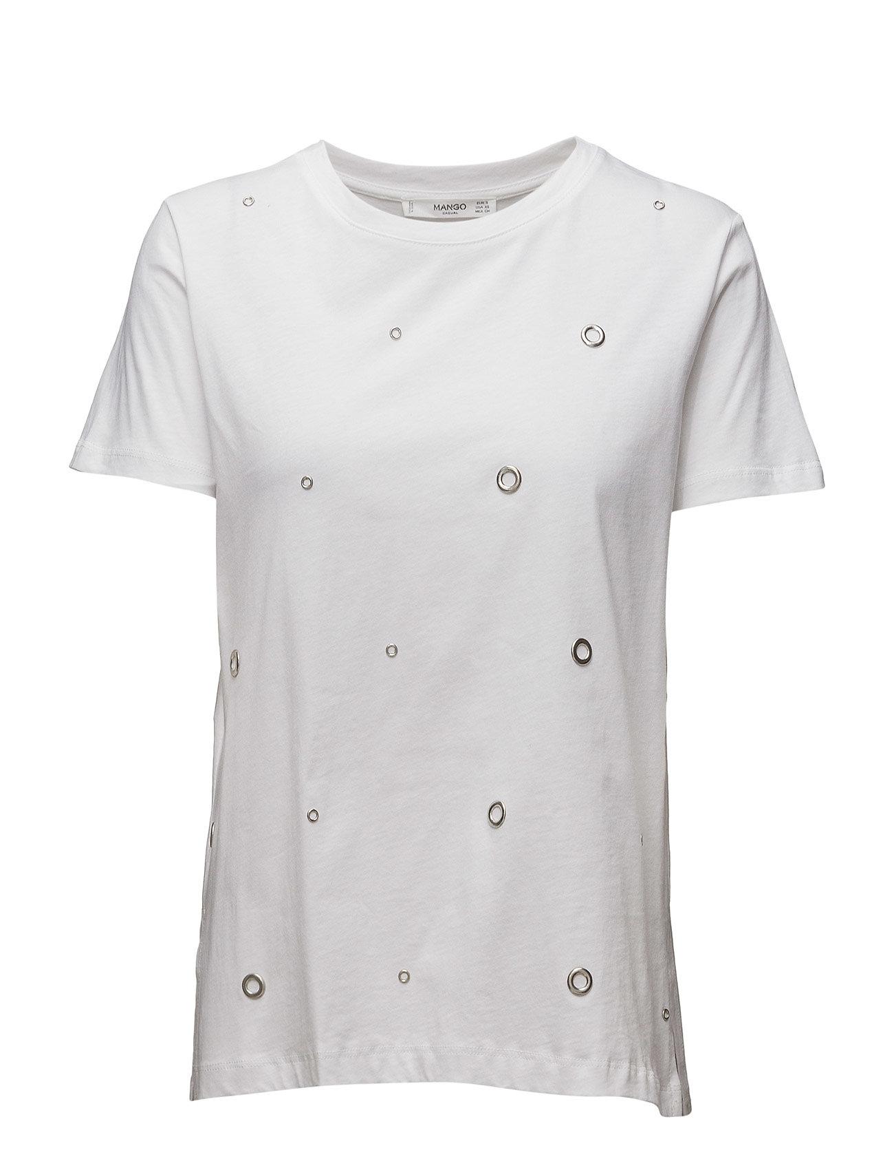 Studded T-Shirt Mango Kortærmede til Damer i hvid