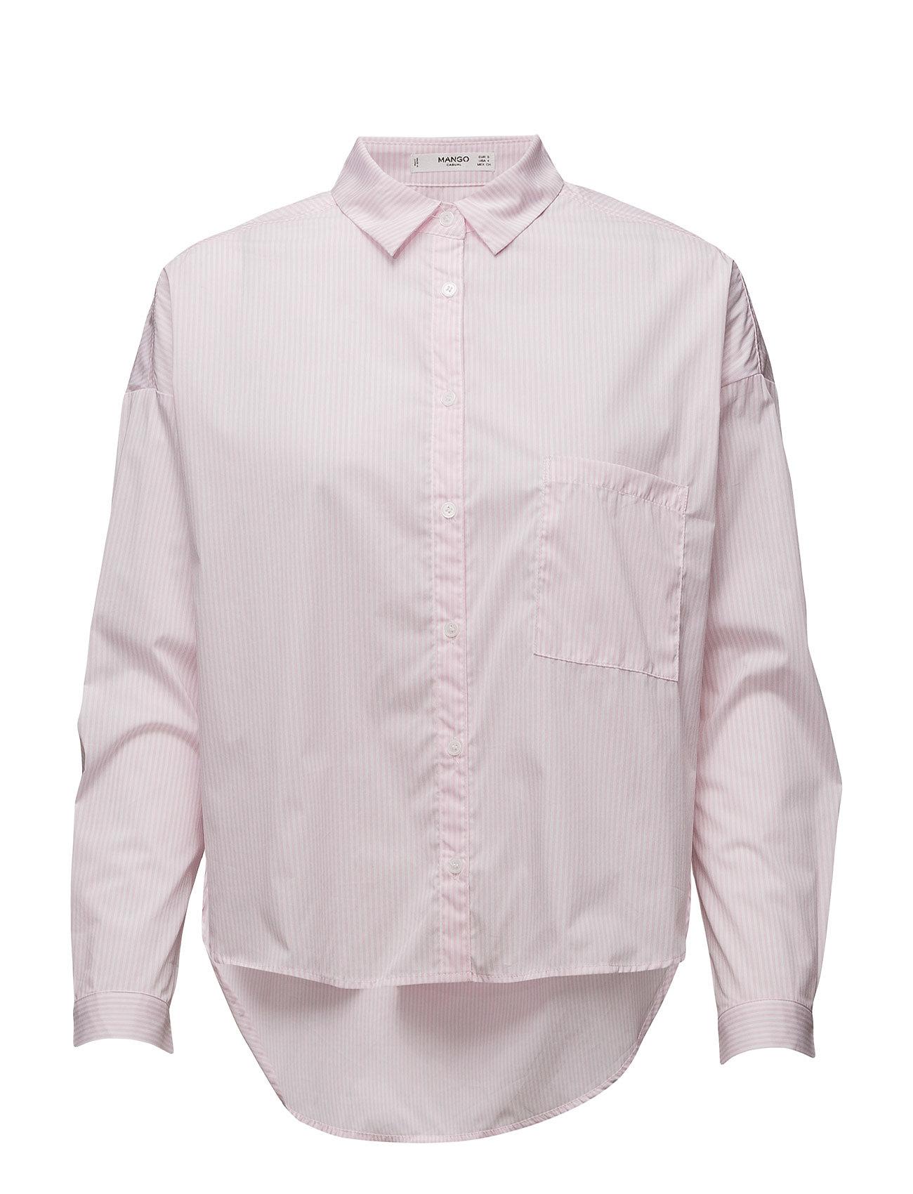 Cotton Shirt Mango Langærmede til Damer i Pink