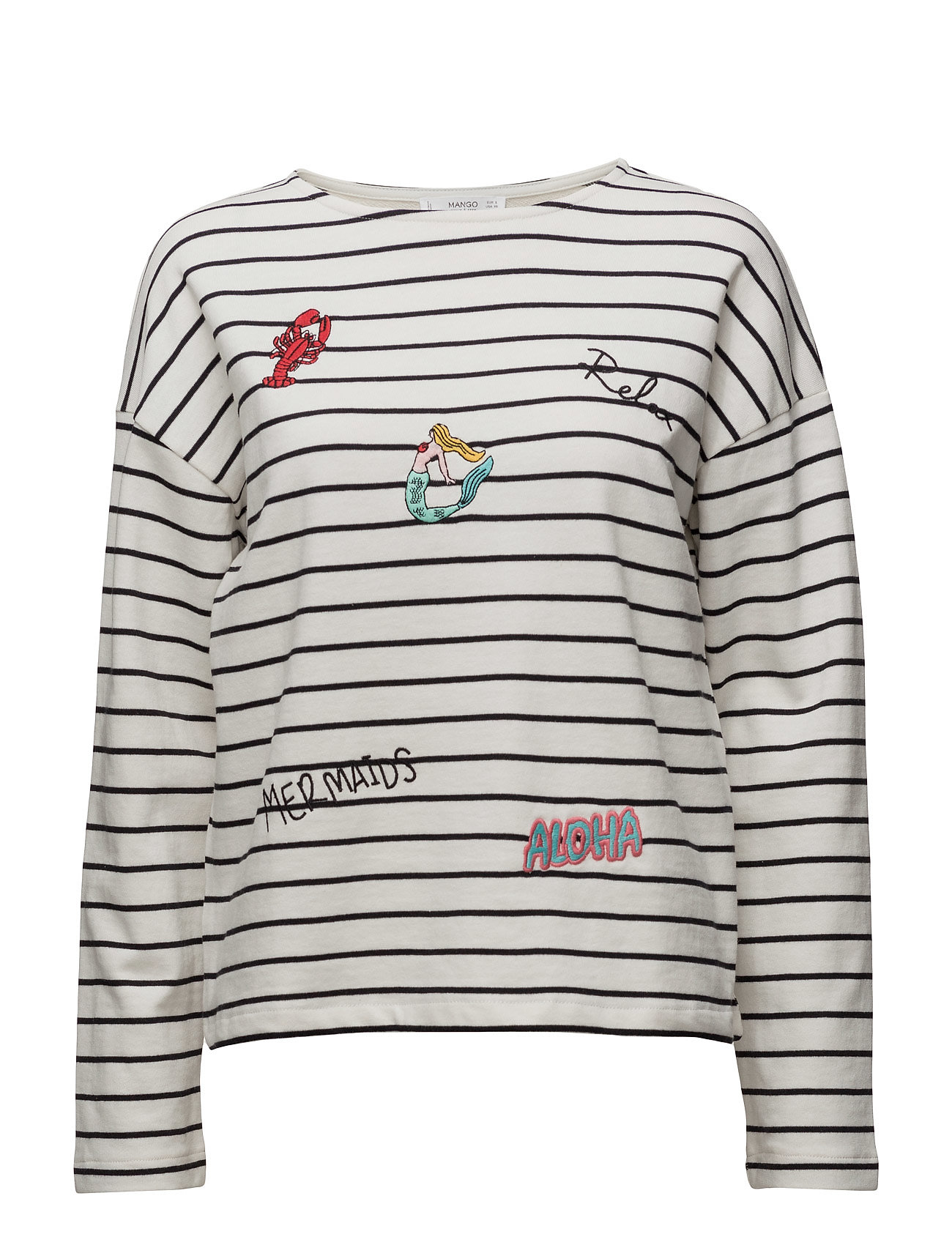 Embroidered Cotton Sweatshirt Mango Langærmede til Damer i Natural White