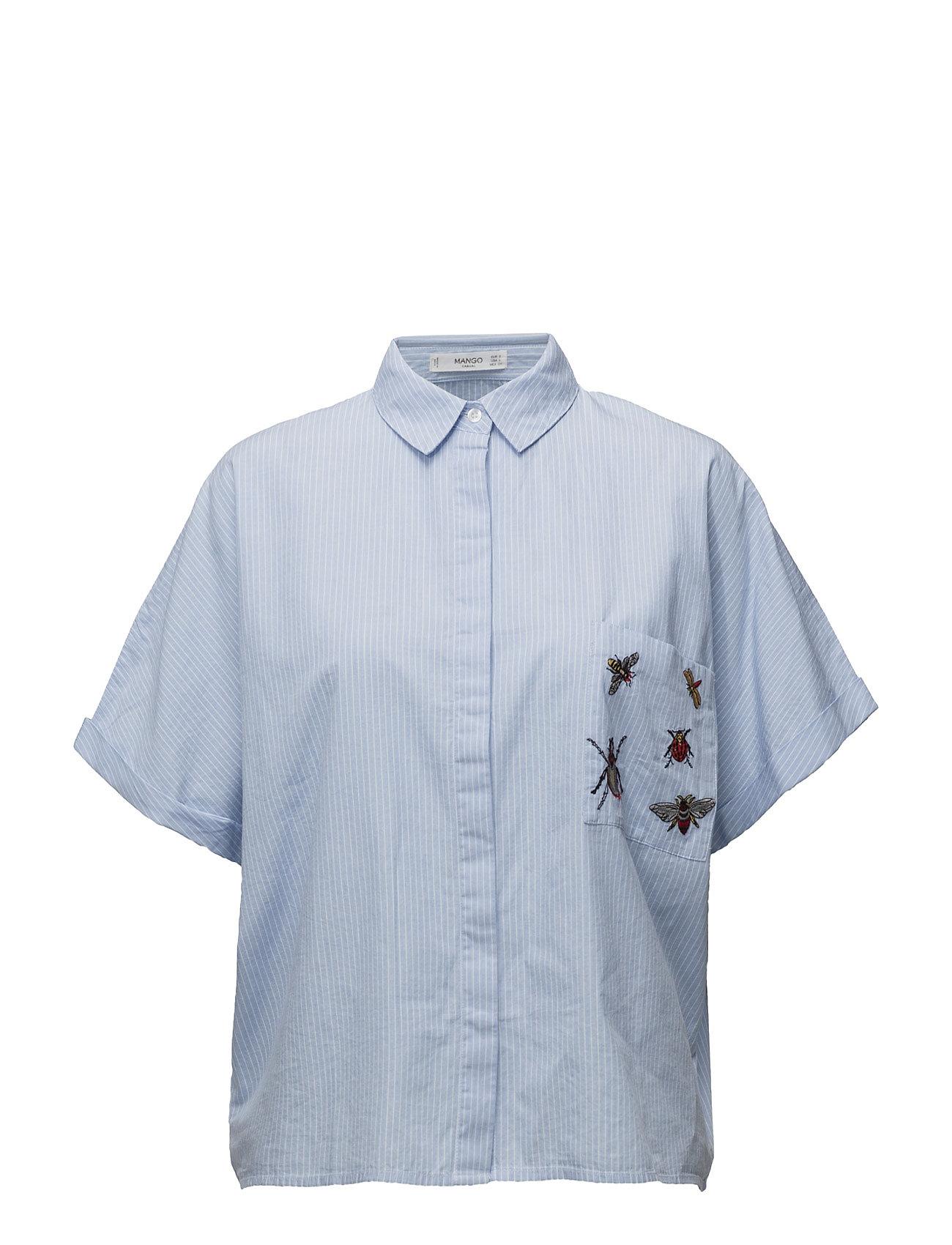 Patches Cotton Shirt Mango Kortermet til  - MoteJakten