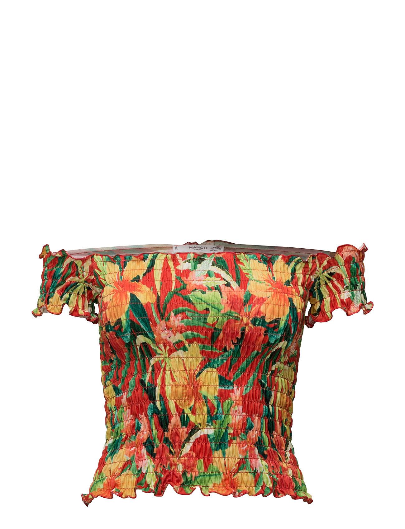 Off-Shoulder Top Mango Kortærmede til Damer i orange