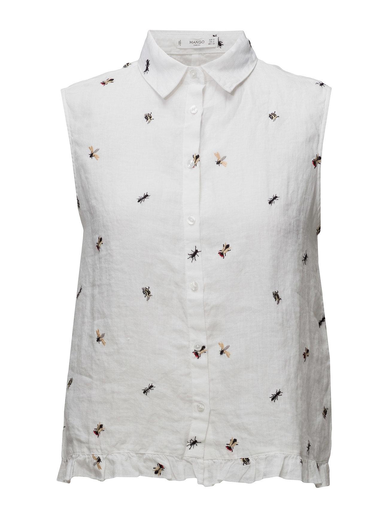 Linen-Blend Shirt Mango Ærmeløse til Damer i hvid