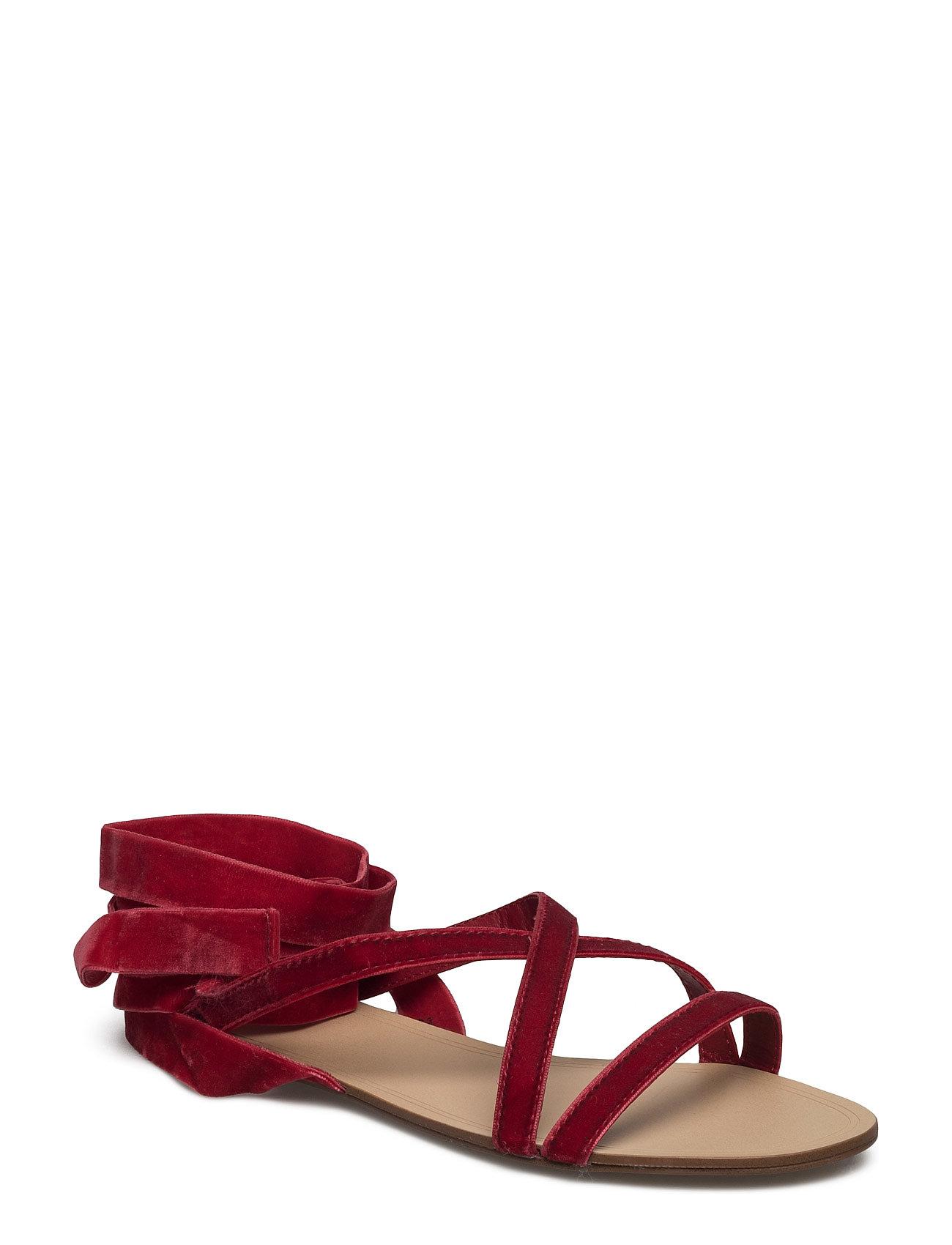 Velvet Strappy Sandals Mango Sandaler til Damer i Mørkerød