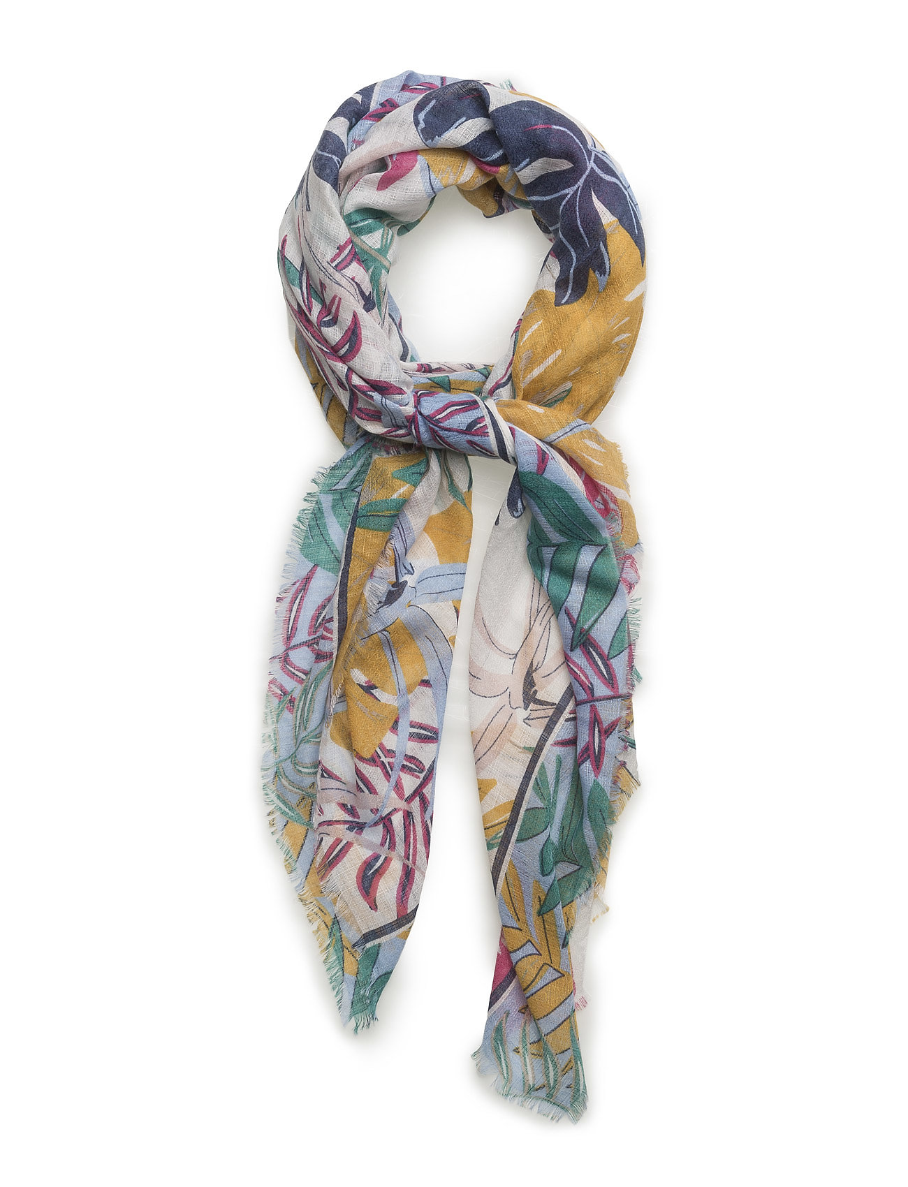 Leave Pattern Scarf Mango Halstørklæder til Damer i medium Yellow