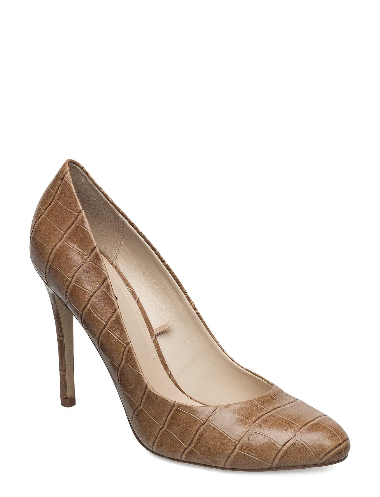 Embossed High Heel Shoes Mango Stiletter til Damer i Medium Brown