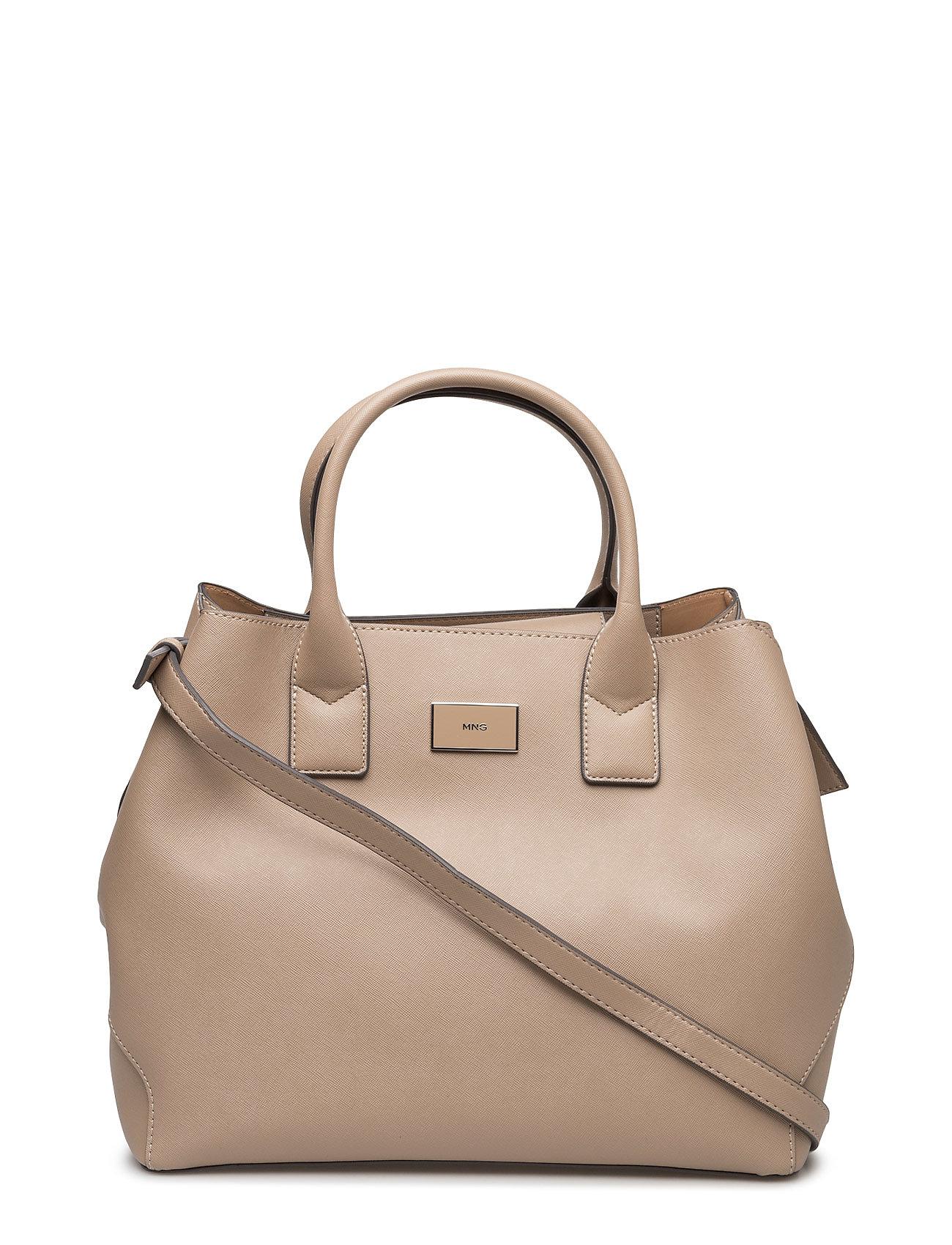 Saffiano Effect Tote Bag Mango Skuldertasker til Kvinder i Sort