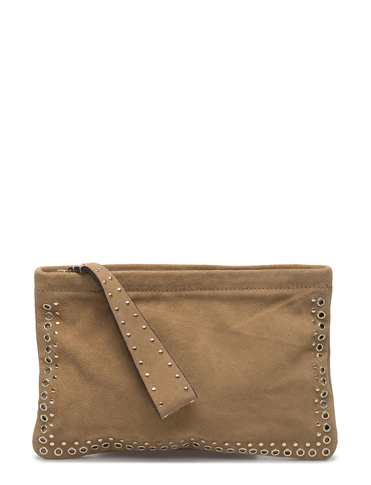 Stud Leather Clutch Mango Små tasker til Damer i Lt Pastel Brown