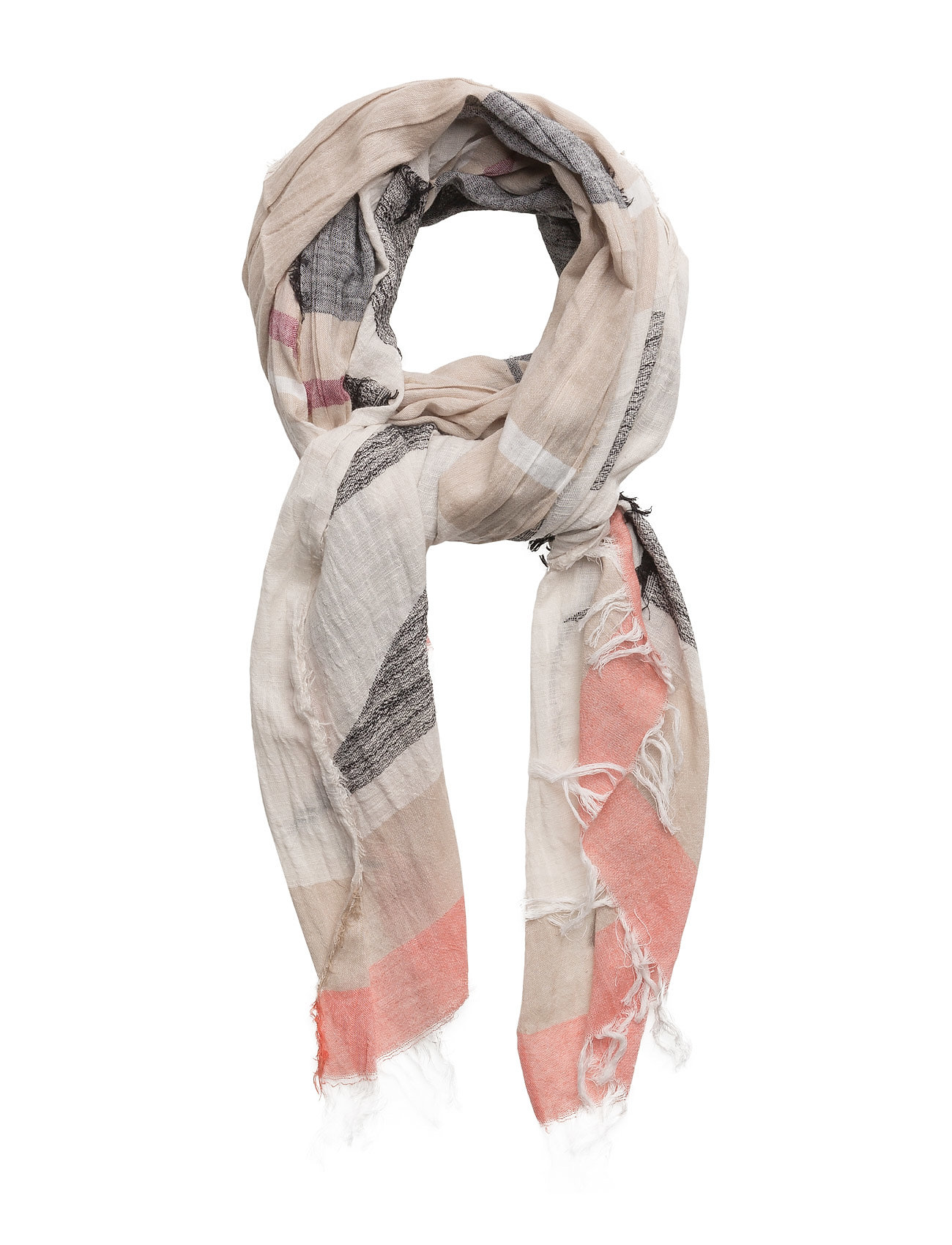 Stripe-Pattern Cotton Scarf Mango Halsdukar