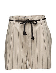 Striped linen shorts - LT PASTEL BROWN