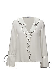 Ruffle neckline blouse - NATURAL WHITE