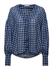 Lightweight check blouse - MEDIUM BLUE
