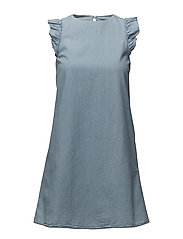 Frills denim dress - OPEN BLUE