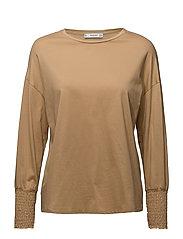Ruched detail t-shirt - MEDIUM BROWN