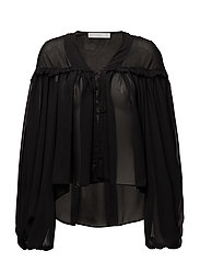 Puffed sleeves blouse - BLACK