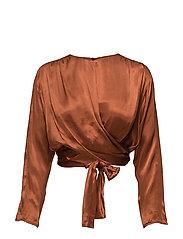 Satin wrap blouse - RUST - COPPER