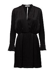 Wrapped satin dress - BLACK