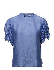 Ruched satin blouse - LT-PASTEL PURPLE