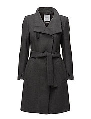 Belted wool coat - MEDIUM GREY