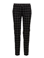 Check cotton trousers - BLACK