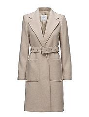 Belted wool coat - LIGHT BEIGE