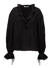 Ruffled puff sleeves blouse - BLACK